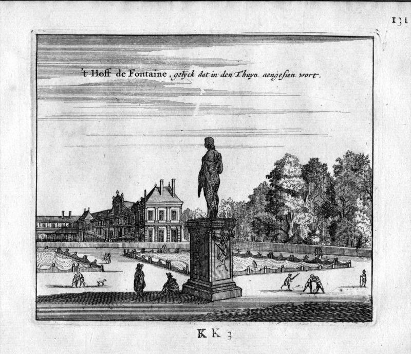 Chateau Fontaine Brunnen Paris Frankreich France gravure estampe Kupferstich