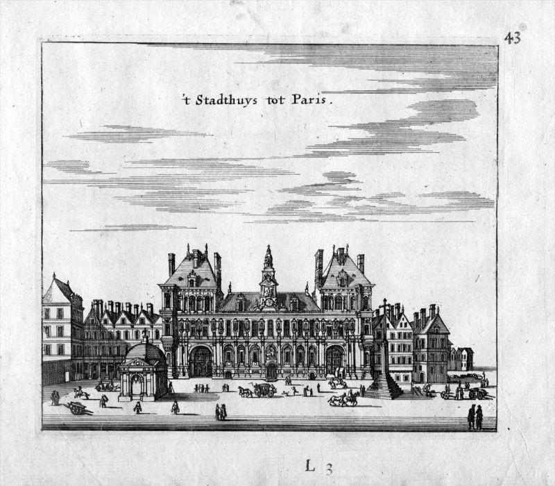 Rathaus Paris Frankreich France gravure estampe Kupferstich