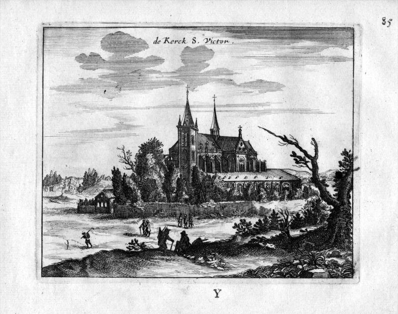 Saint Victor Kirche  Abtei Paris Frankreich France gravure estampe Kupferstich