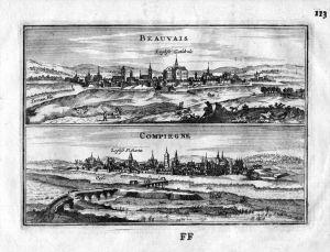 Beauvais Compiegne Oise Frankreich France gravure estampe Kupferstich