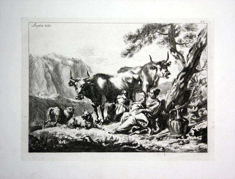 Rinder Kühe melken Schafe Frauen cows milk women Kupferstich engraving