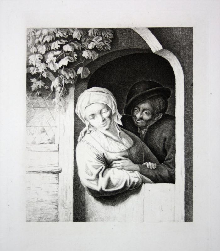 Frau Mann Fenster Weinrebe man woman window wine Kupferstich engraving