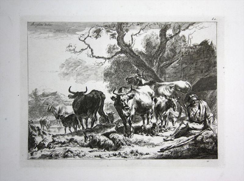 Landschaft landscape Rinder Kühe cows Hirte Kupferstich engraving