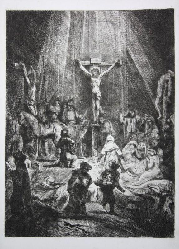 Die Kreuzigung The Crucifixion Jesus Christ Kupferstich engraving