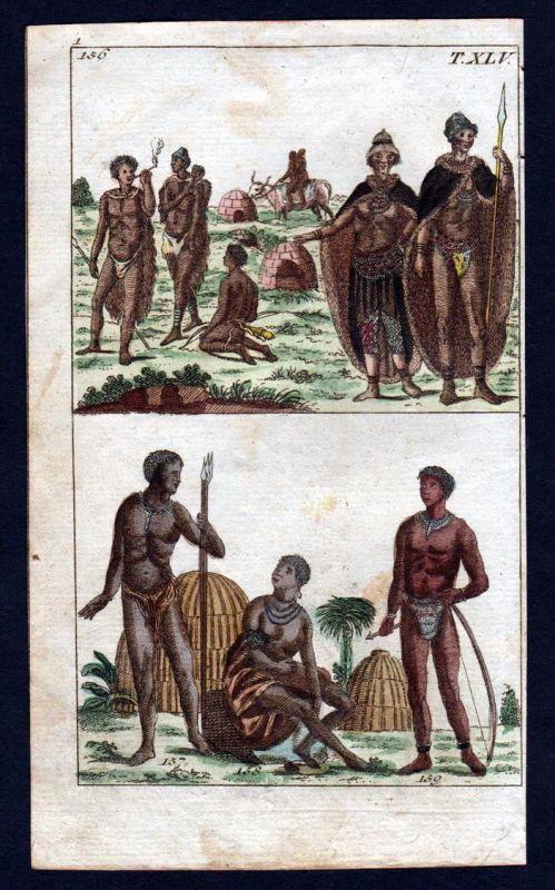 Hottentotten Hottentots Tracht costume Kupferstich engraving antique print