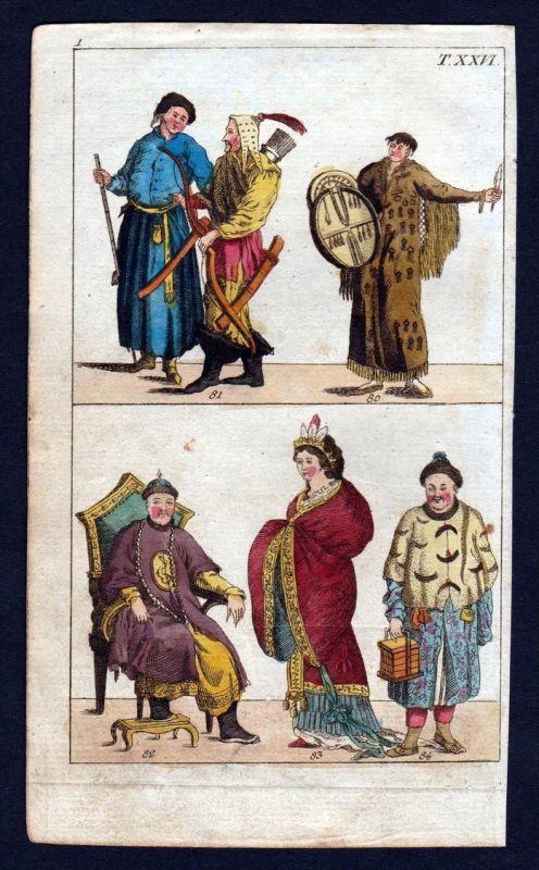 Mongolia Mongolei Tracht costume Kupferstich engraving antique print