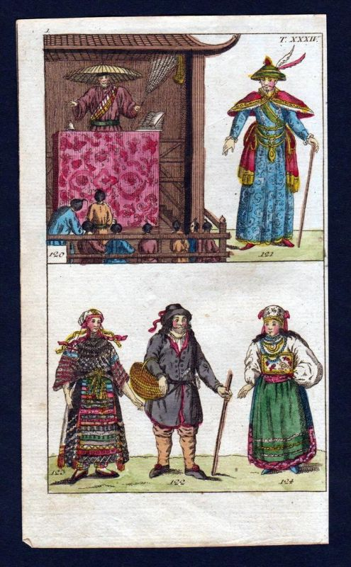 Japan Nippon Tracht costume Asia Kupferstich engraving antique print