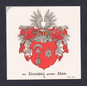 . Adamowicz Adam Wappen Heraldik coat of arms heraldry Litho