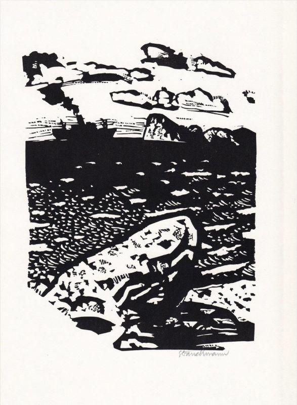 Linolschnitt von Went Strauchmann zu einem unveröffentlichten Gedicht von Isolde von Conta.