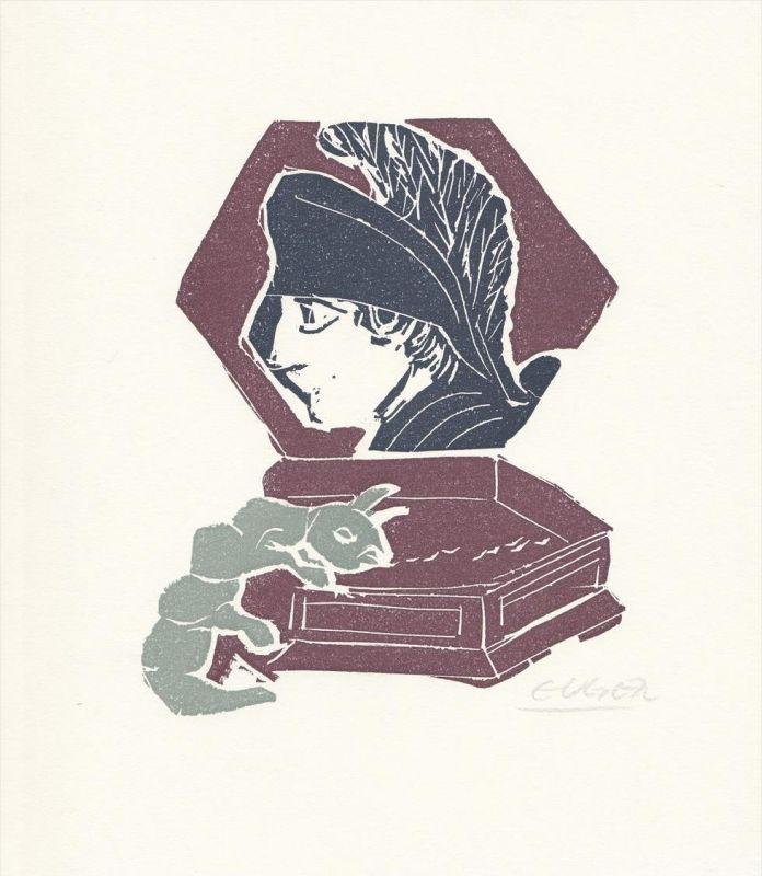 Dreifarben-Original-Linolschnitt von Heinrich Eugen zu einem Gedicht von Joachim Rigelnatz.