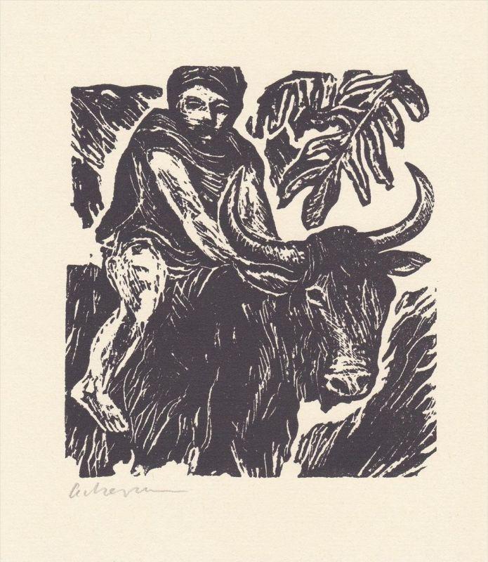 Linolschnitt von Helmut Ackermann zu Thomas Mann
