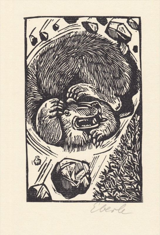 Original-Holzschnitt von Klaus Eberlein zu Herbert Plate