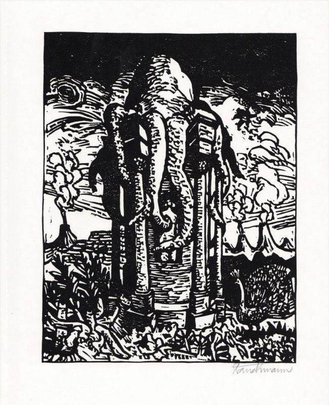 Original-Linolschnitt von Went Strauchmann zu einem Gedicht von Arthur Rimbaud