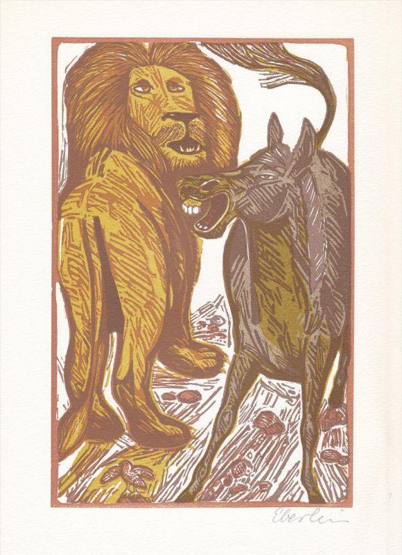 Vierfarben-Linolschnitt von Klaus Eberlein zu einer Fabel von Aesop.