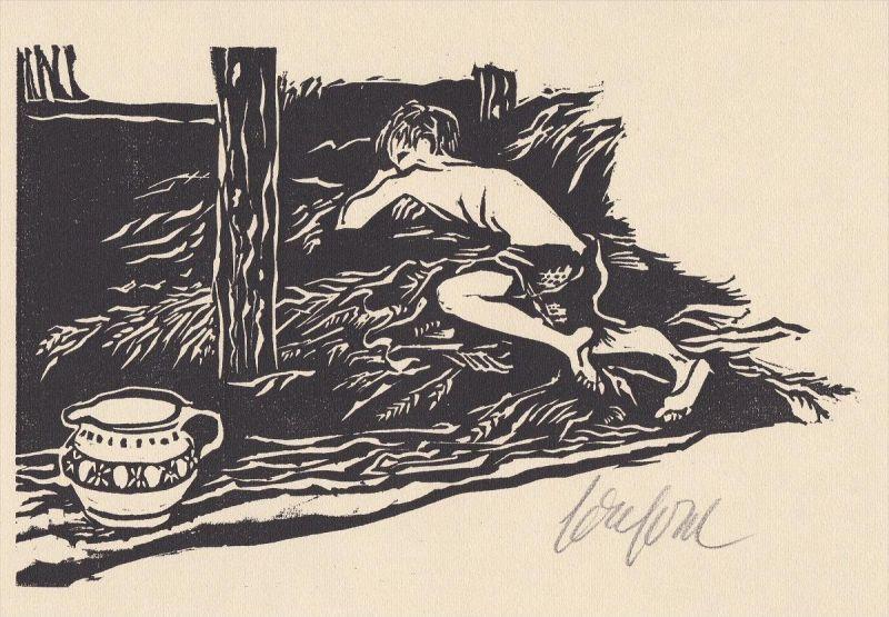 Original-Linolschnitt von Ruth Schefold zu der Erzählung