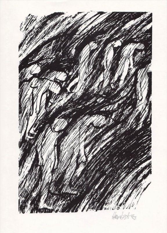 Rotaprint-Zeichnung von Winfried Herbst zu einem Gedicht von Georg Heym.