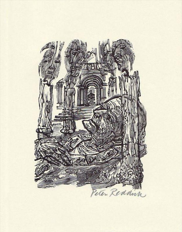 Original-Holzstich von Peter Reddick zu einem Gedicht von Robert Browning.