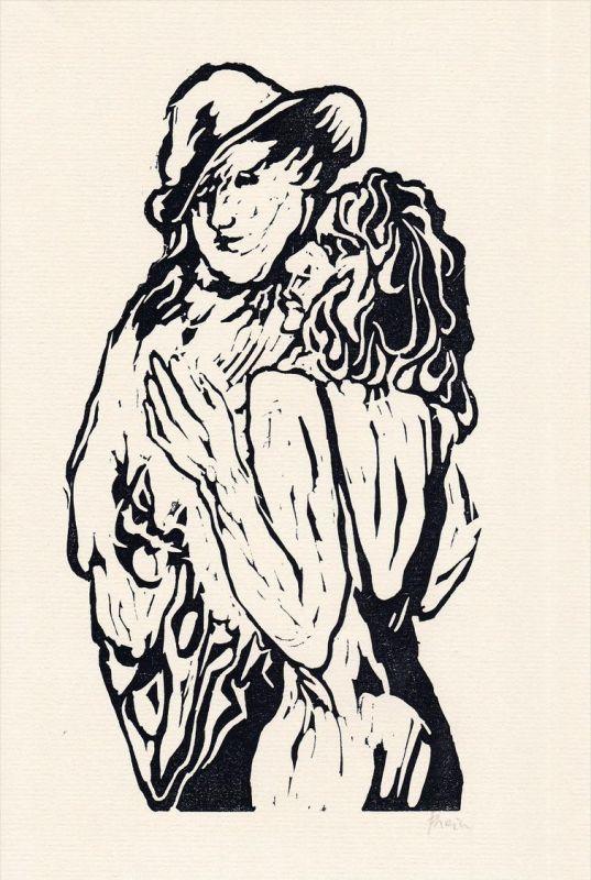 Original-Linolschnitt von Jan Prein zu Guy de Maupassant
