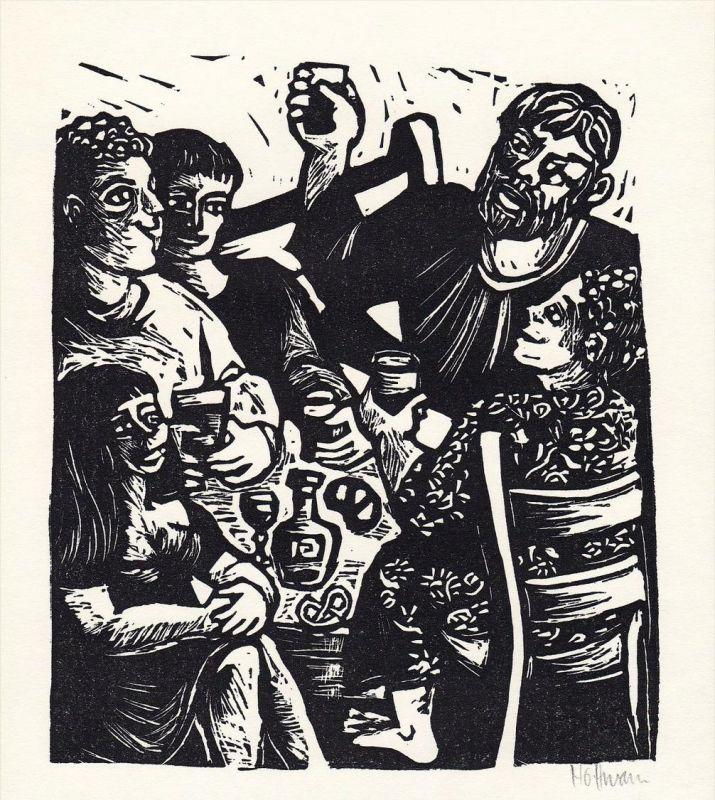 Linolschnitt von Flora Hoffmann-Strauchmann zu Ernst Penzoldt