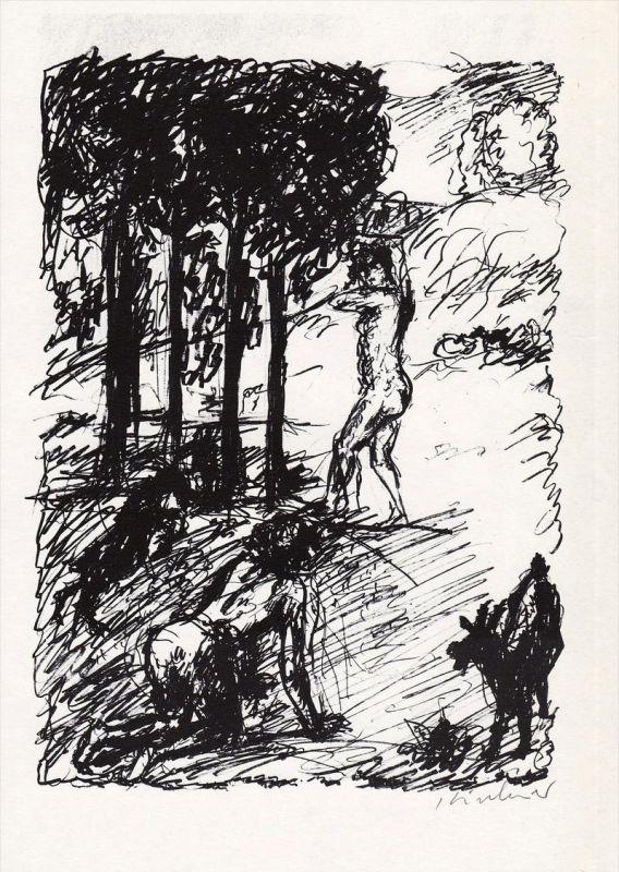 Rotaprintzeichnung von Robert Kirchner zu Vergils Bucolica.