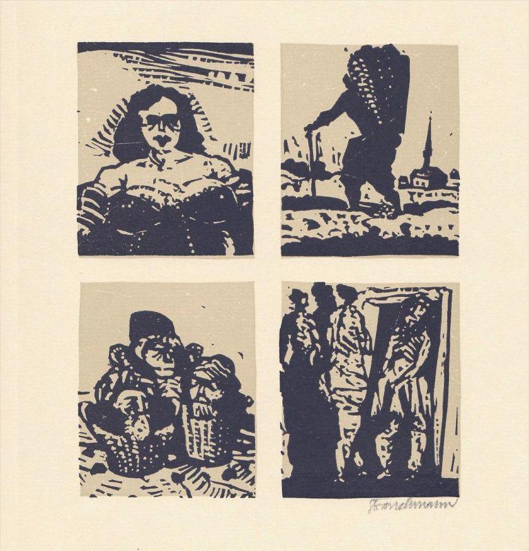 Zweifarben-Originallinolschnitt von Went Strauchmann zu Voltaire