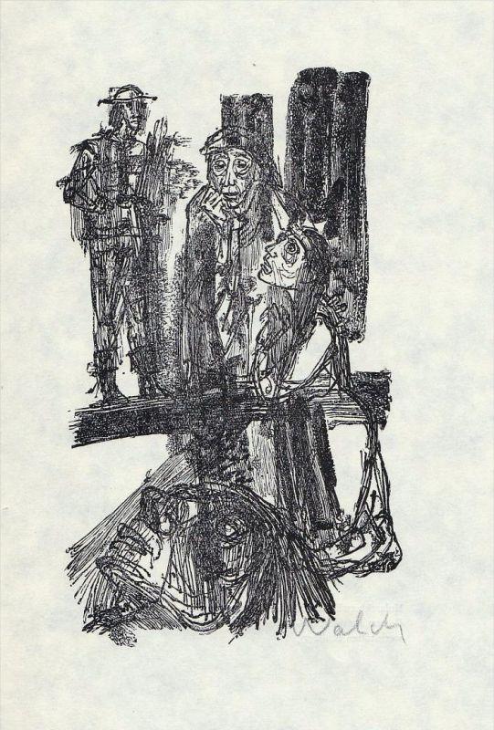 Holzstich zu Brecht: Mutter Courage von Hans-Joachim Walch.