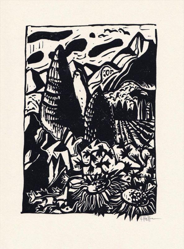 Original-Linolschnitt von Flora Hoffmann zu einem Gedicht von Isolde von Conta.