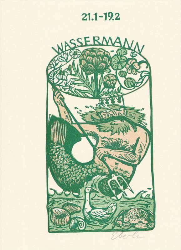 Dreifarben-Original-Linolschnitt von Klaus Eberlein zu dem Buch Klaus Münzenmaier