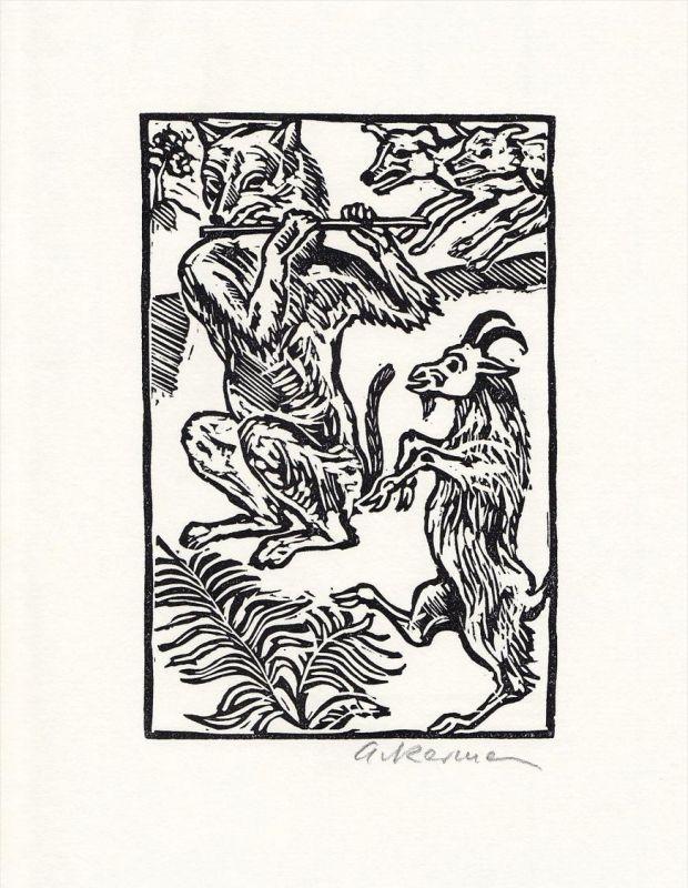 Originallinolschnitt und Initiale von Helmut Ackermann zu einer Aesop-Fabel.