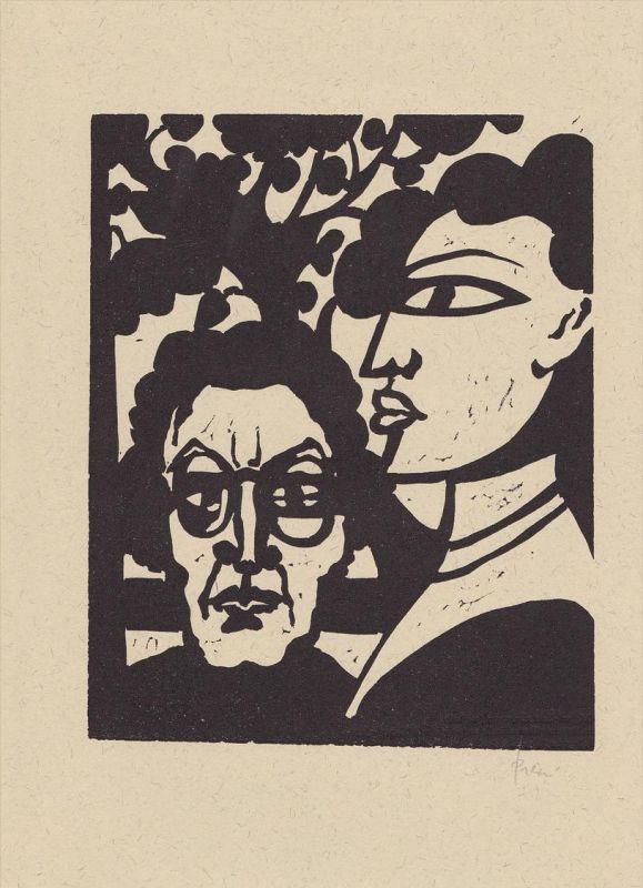 Original-Linolschnitt von Jan Prein zu Hermann Hesses Erzählung