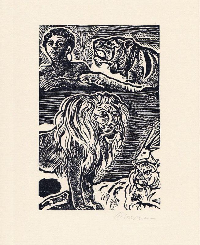 Original-Linolschnitt von Helmut Ackermann zu Johann Wolfgang von Goethe