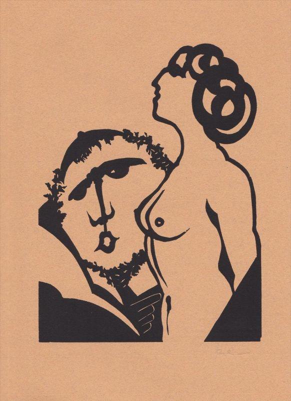 Original-Linolschnitt von Jan Prein zu Kasimir-Edschmids Novelle