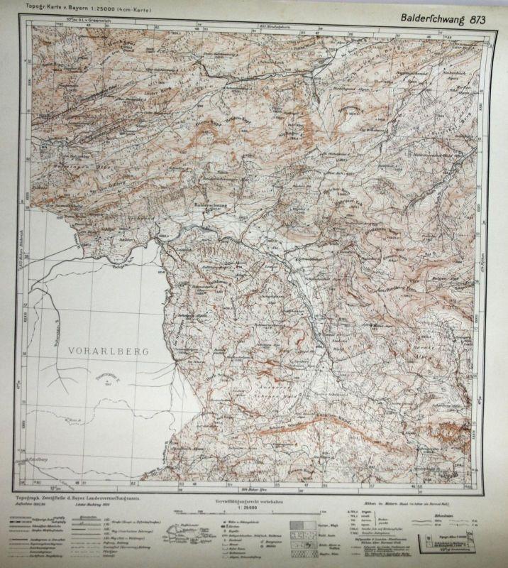 Balderschwang Giren-Kopf Hochgrat Gschwend Heiden-Kopf 1:25000 Meßtischblatt