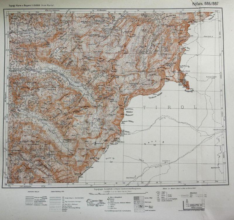 Höfars Rauh-Eck Kegel-Kopf Vorderer Wilder Kreuz-Kopf 1:25000 Meßtischblatt