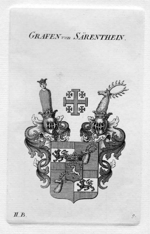 1820 - von Särenthein Wappen Adel coat of arms heraldry Heraldik Kupferstich