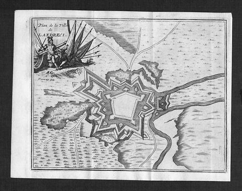 1700 - Landrecies Nord-Pas-de-Calais gravure map carte engraving