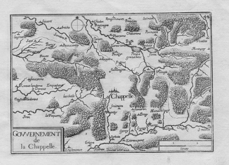 1640 - La Capelle Aisne Seine-et-Marne Frankreich gravure Kupferstich Tassin