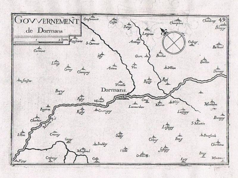 1660 - Dormans Epernay Champagne-Ardenne France gravure Kupferstich Tassin