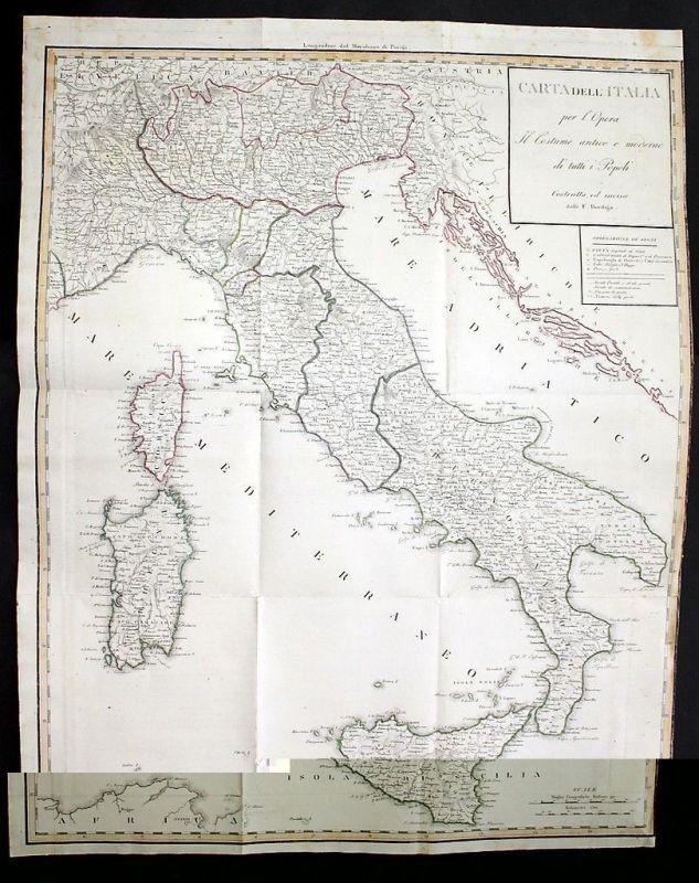 1820 Italia Sicilia Sardegna Corsica map Karte Bordiga acquaforte ...