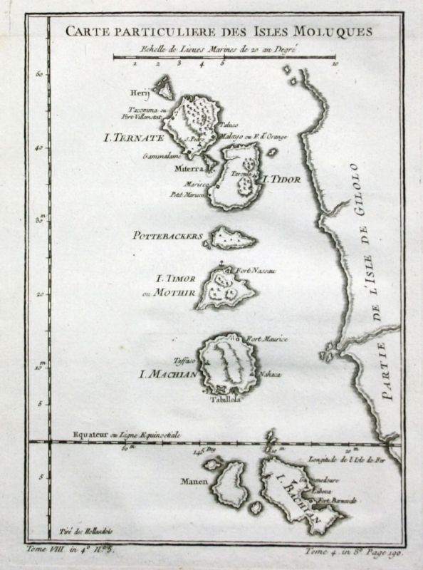 Ca. 1750 - Molukken Maluku islands Indonesia Karte map Kupferstich Bellin