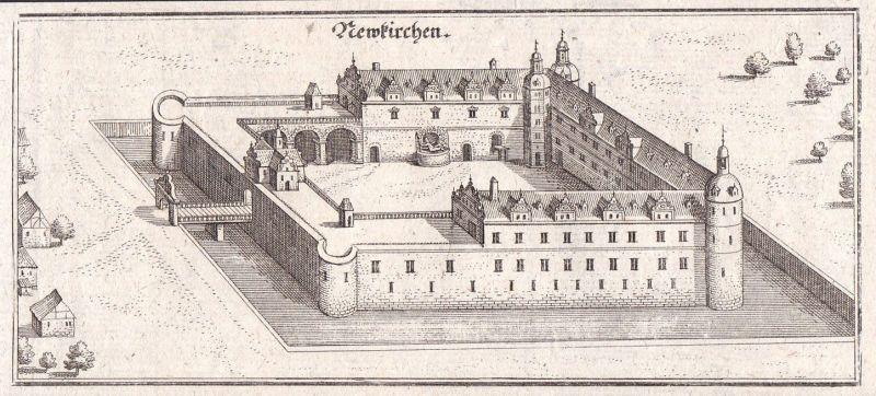 1650 Neukirchen Schloss Bayern Bavaria Merian Kupferstich antique print