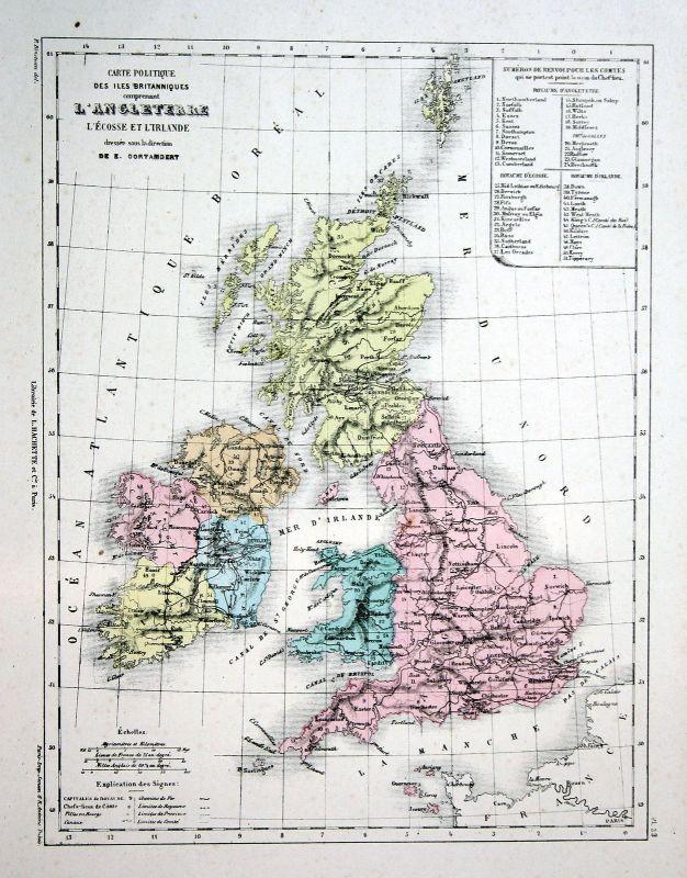 Großbritannien Great Britain Ireland Scotland Weltkarte world map ...