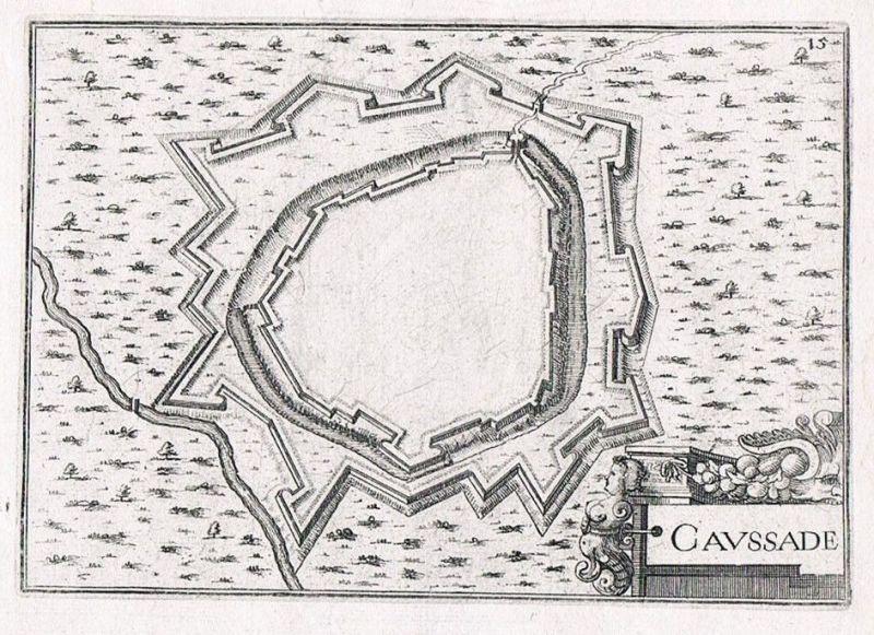 1660 - Caussade Tarn-et-Garonne gravure plan Original Kupferstich Tassin 0