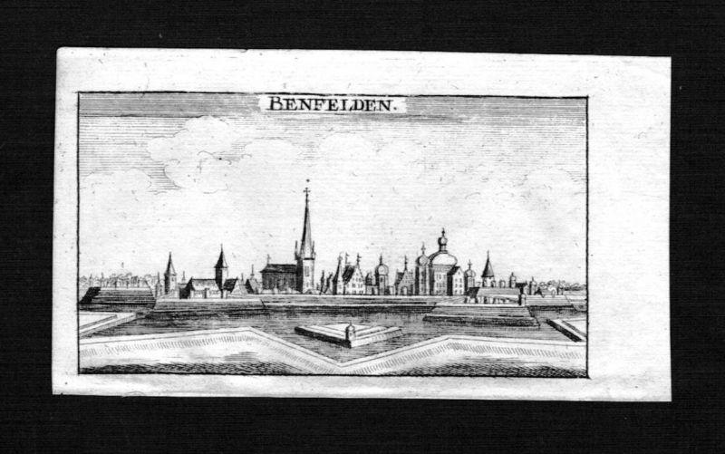 1690 - Benfeld Bas-Rhin Elsass Alsace Frankreich gravure Kupferstich Riegel
