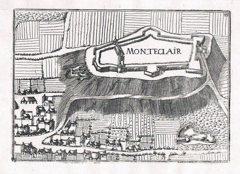 1660 - Monteclair Champagne-Ardenne France view gravure Kupferstich Tassin