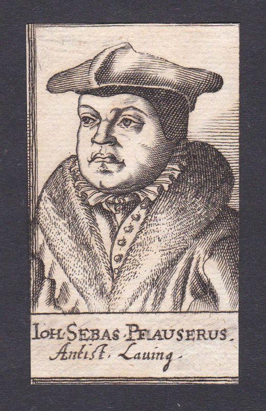 1680 Johann Sebastian Pfauser theologian Theologe Lauingen Portrait Kupferstich