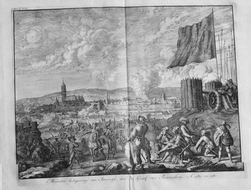 1720 - Steenwijk Overijssel Holland Kupferstich beleg van 1580 bataille gravure