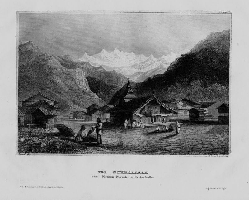 1840 - Himalaya Gebirge Berge Dorf Indien India Asien Asia engraving Stahlstich
