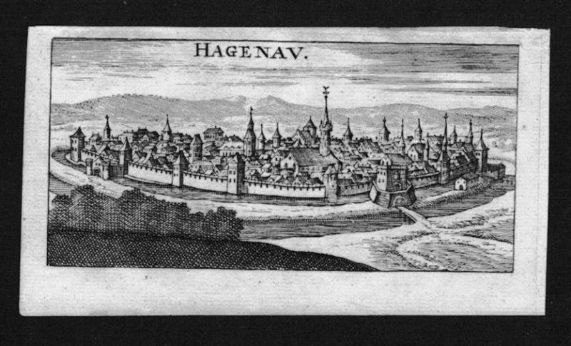 1690 - Haguenau Hagenau Elsass Alsace gravure Kupferstich Riegel
