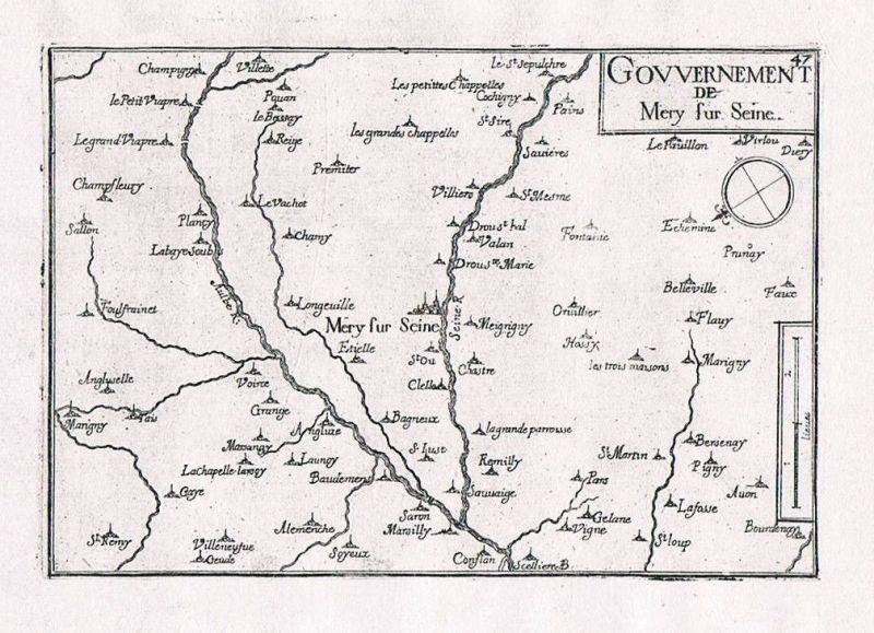 1660 - Mery-sur-Seine Aube Champagne-Ardenne France gravure Kupferstich Tassin